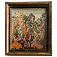 19th C. Medieval Painting Queen and her Court
