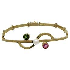 Designer 14K Gold Link Bracelet With Cultured Pearl Pink & Green Tourmaline