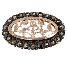 Late Georgian C. Silver & Rose Gold Mine Cut Diamond Pin
