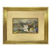 Pietra Dura Plaque of Landscape Signed Giuseppe Fiaschi
