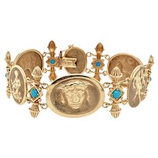 Vintage Etruscan Style 14K Gold Turquoise Neoclassical Bracelet