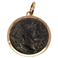 Antique Roman Coin Mounted in 10K Rose Gold Bezel