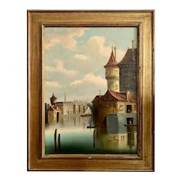 19th C. Venetian Canal Scene Oil on Canvas Painting