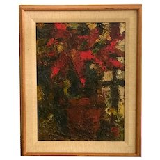 Ron Blumberg, American Oil on Panel Poinsettia In a Pot