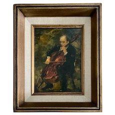 Ron Blumberg, Oil on Panel of Cello Player