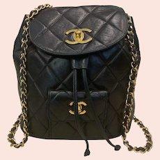 Chanel Quilted Lambskin Urban Spirit Black Backpack Bag