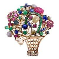 18K W & Yellow Gold Tutti Fruitti Jeweled Basket Pin