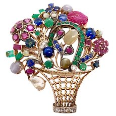 18K W & Yellow Gold Tutti Fruitti Jeweled Basket Pin
