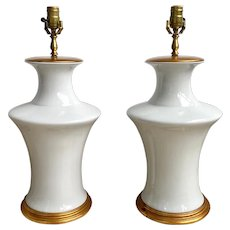 Pair of White Blanc De Chine Porcelain Lamps