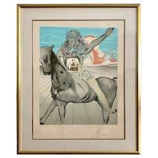 "Savador Dali Signed Lithograph ""Chevalier Surrealiste"""