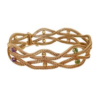 Vintage 14K Gold Woven Bracelet with Amethysts & Peridot