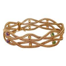 Vintage 14K Gold Woven Bracelet with Amethysts & Peridot