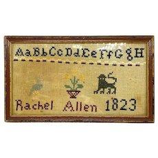 Rachel Allen 1823 Needlepoint Sampler