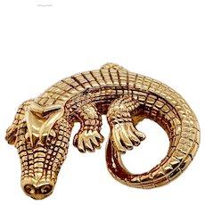 Vintage 14K Gold Designer Alligator Pendant