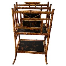 19th C. Bamboo and Lacquer Canterbury Music Stand