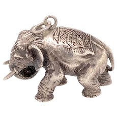 Finely Cast Silver Elephant Pendant