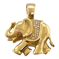 14k Gold & Diamond Elephant Enhancer Pendant