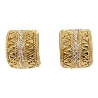 18K Gold & Diamond Etruscan Style Earrings