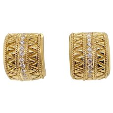 18K Gold & Diamond Etruscan Style Earrings