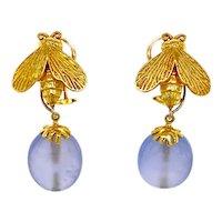 Designer 18K Gold Night & Day Bee Earrings Blue Chalcedony