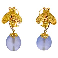 Designer 18K Gold Night & Day Bee Earrings Blue Chalcedony