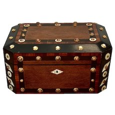 Victorian Exotic Wood Mother Of Pearl & Copper Box