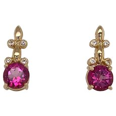 Designer 14K Gold Pink Topaz Diamond Pierced Earrings