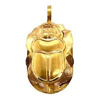 18K Gold Egyptian Scarab Large Charm / Pendant