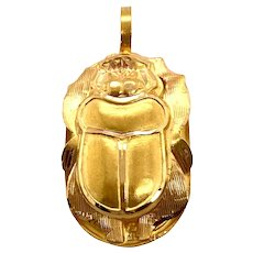 18K Gold Egyptian Scarab Large Charm / Pendant