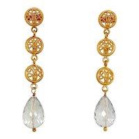 18K Gold Filigree & Aquamarine Pierced Dangle Earrings