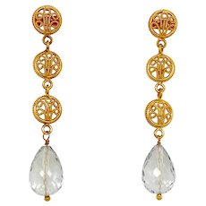 18K Gold Filigree & Aquamarine Pierced Dangle Earrings