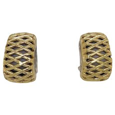 David Wysor Sterling 18K Gold Lattice Half Hoop Earrings