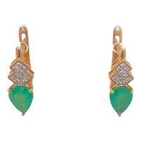 14K Gold Emerald And Diamond Pierced Earrings