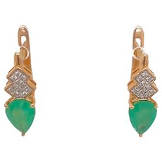 14K Gold Emerald And Diamond Pierced Earrings