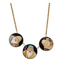 Japanese 14K Gold Toshikane Porcelain Pendant Necklace