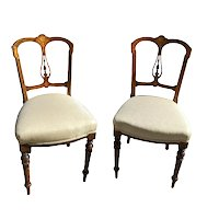 Pair of American Victorian Inlaid Occasional Side Chairs