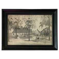 American Primitive Pencil Sketch of Houses, Trees & Figures