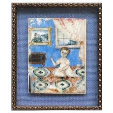 American Primitive Miniature Portrait of Child In Interior
