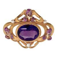 Krementz Art Nouveau Amethyst Enamel Iris Pendant / Brooch
