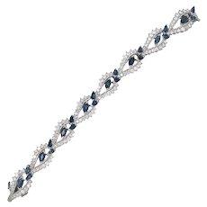 Vintage Platinum Natural Sapphire & Diamond Bracelet