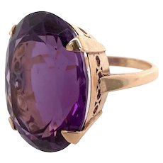 Fabulous Vintage Large Amethyst 18K Gold Cocktail Ring