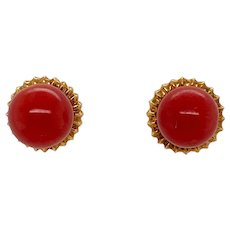 18K Gold Red Coral Ball Pierced Post Earrings