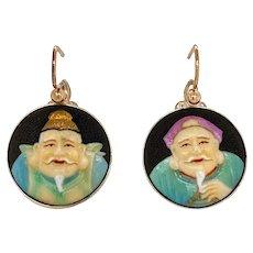 Japanese 14K Gold Toshikane Figural Pierced Earrings
