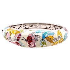 Belle Etoile Butterfly Kisses Sterling Enamel Bangle