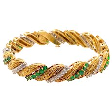 La Triomphe 18K Gold Emerald and Diamond Bracelet