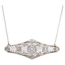 Edwardian Platinum on Gold Diamonre Pendant Necklace