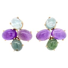 Vintage 14K Gold Cabochon Gemstone Earrings