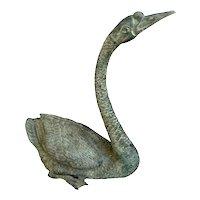 Vintage Bronze Garden Sculpture of Goose