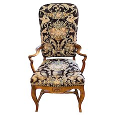 English Oak Queen Anne Style Shepard's Crook Arm Chair