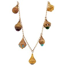 Victorian 14K Gold Jeweled Etruscan Charm Necklace